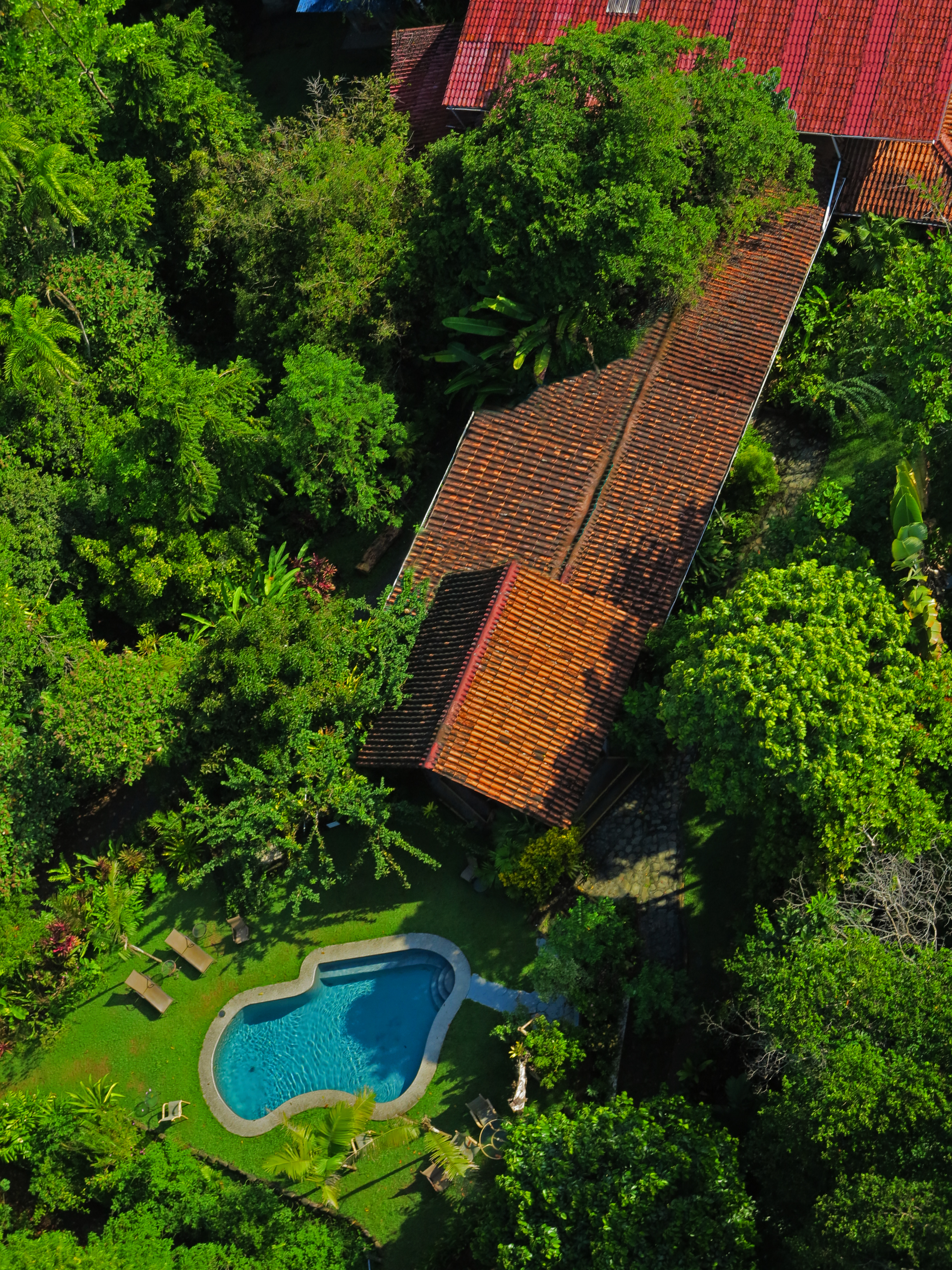 Aerial view lodge and pool