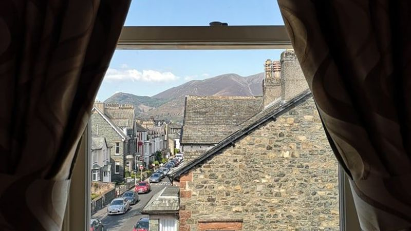 Medium crop bedroom 6 internal window view. goodwin house  bed   breakfast accomodation  keswick  cumbria. lake district national park  united kingdom. a unesco world heritage site.