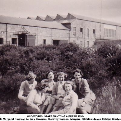Thumb 1 1c b2 loco works staff office enjoying a break 1950s
