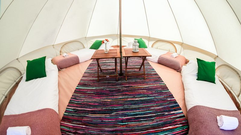 Photograph of 5m furnished bell tent: