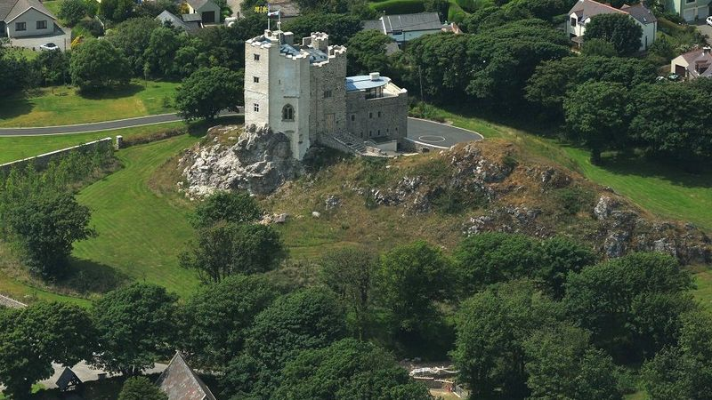 Medium crop roch castle aerial view