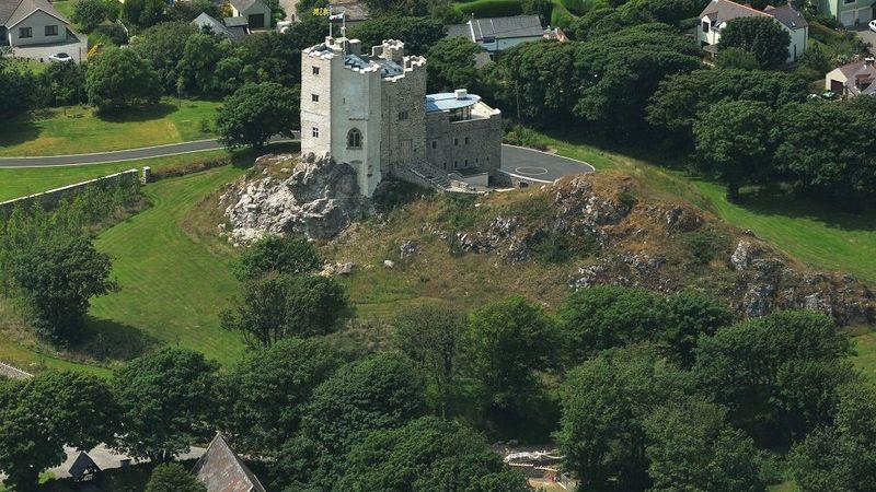 Medium crop roch castle aerial view