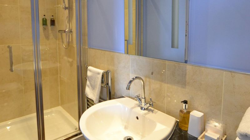 Medium crop ensuite bathroom