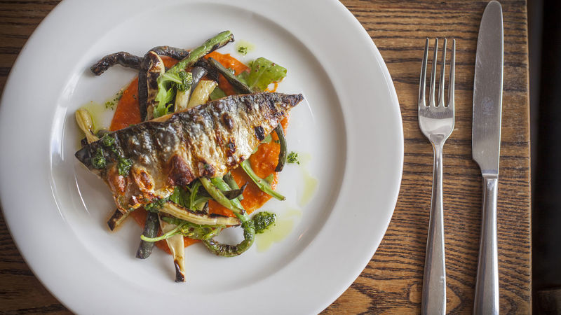 Medium crop grilled mackerel with romesco sauce 02