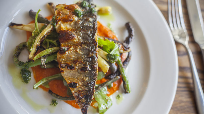 Medium crop grilled mackerel with romesco sauce 06