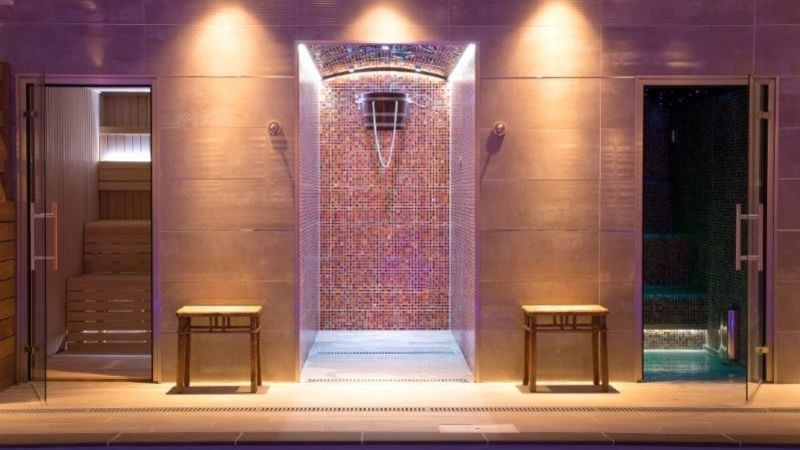 Medium crop sauna  shower and steam