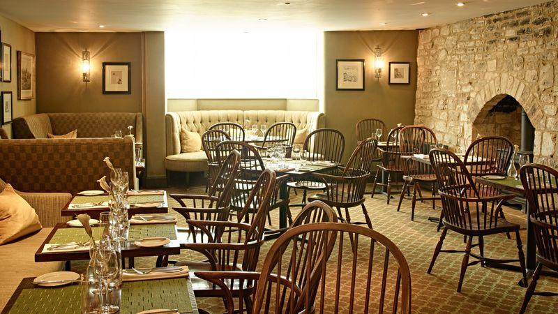 Medium crop brasserie dining area